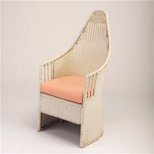 VIENNESE STYLE Wicker chair with curved back and