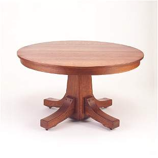 STICKLEY BROS. Pedestal dining table with shoe fe