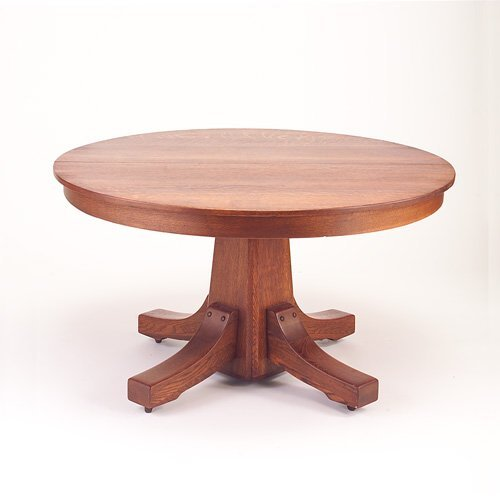 635D: STICKLEY BROS. Pedestal dining table with shoe fe