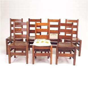 STICKLEY BROS. Set of seven side chairs with three