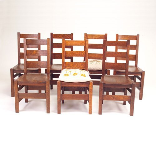 637: STICKLEY BROS. Set of seven side chairs with three