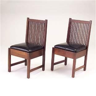 GUSTAV STICKLEY Pair of spindled sidechairs model