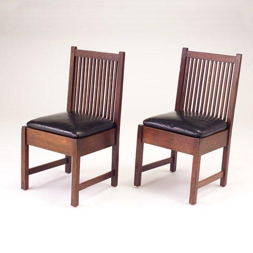 640: GUSTAV STICKLEY Pair of spindled sidechairs model