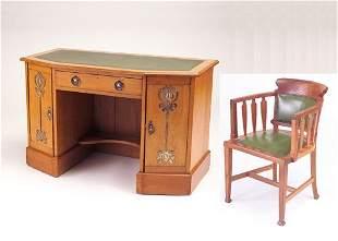 ENGLISH ARTS & CRAFTS Desk and barrel-back armchai