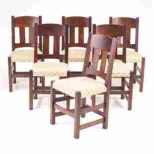 LIMBERT Set of six sidechairs with two vertical ba