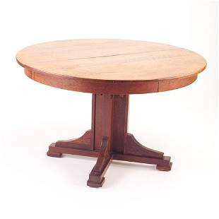 LIMBERT Pedestal dining table with four shoe feet