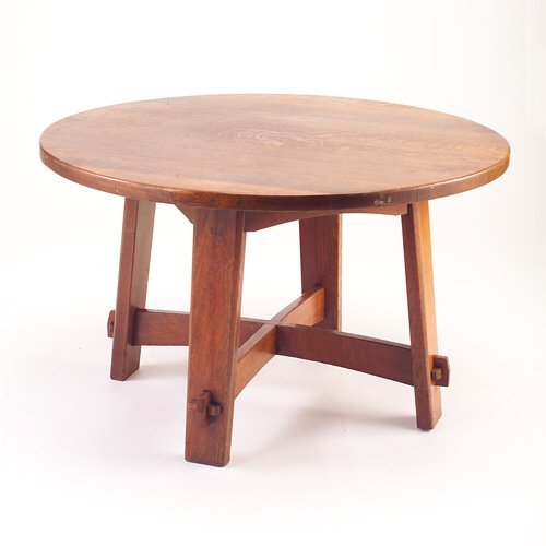 653: GUSTAV STICKLEY Library table model no. 636 with c