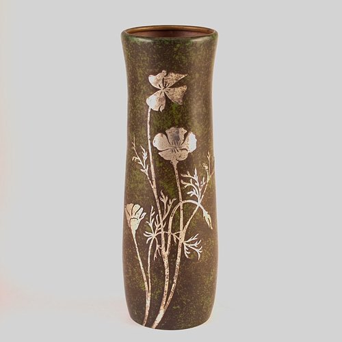 692: HEINTZ Sterling-on-Bronze tall vase with poppies o