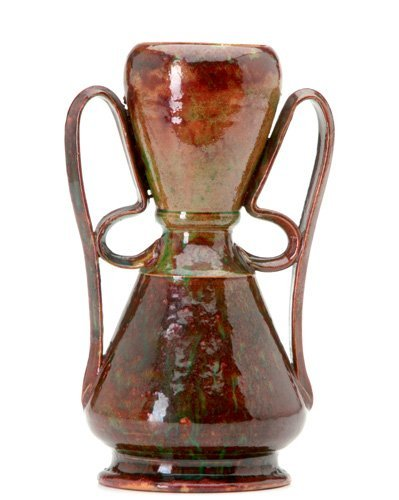 1: GEORGE OHR Tall vase with two ribbon handles
