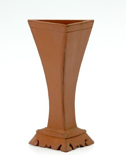 6: HALCYON Rare redware three-sided vase by Alexander R