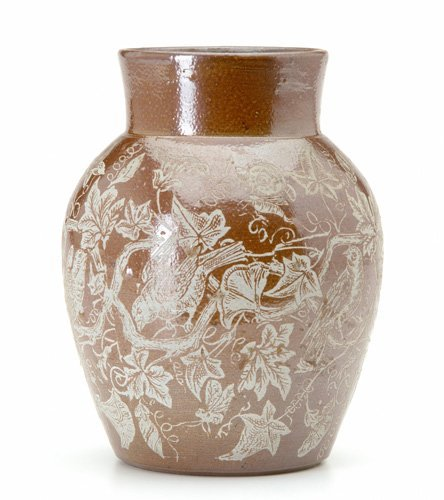 16: GRAHAM Stoneware vase acid-etched with insects