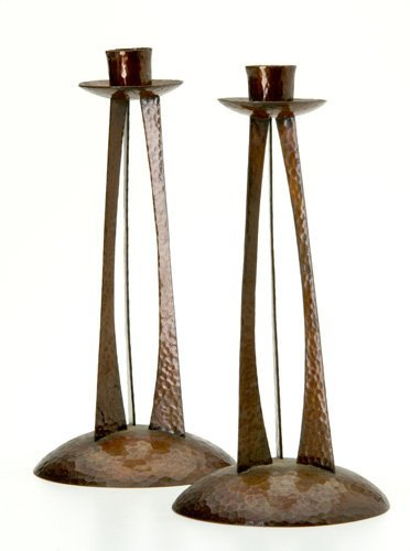 366: ROYCROFT Pair of rare hammered copper candlesticks