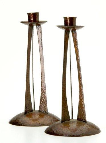 366: ROYCROFT Pair of rare hammered copper candlesticks