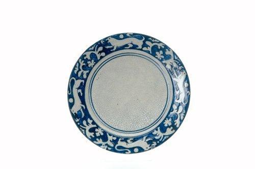 "450: DEDHAM Crackleware ""Tapestry Lion"" plate no. 2"