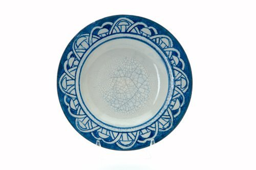 452: DEDHAM Crackleware deep plate in the Mushroom desi