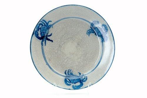 455: DEDHAM Crackleware crab plate no. 2 with three sma
