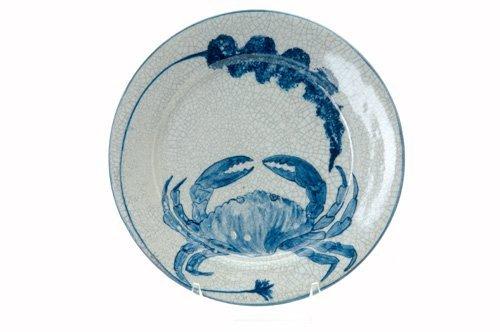 456: DEDHAM Crackleware crab plate with seaweed design.