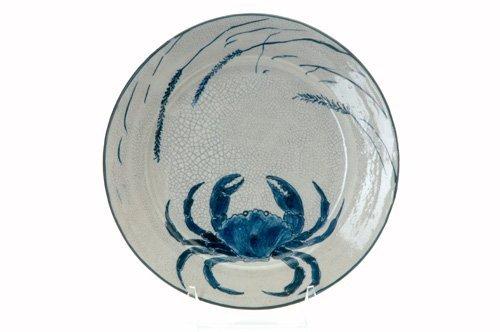 457: DEDHAM Crackleware crab plate with seaweed. Indigo