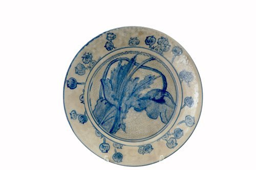 458: DEDHAM Crackleware plate no. 2 in the Poppy design