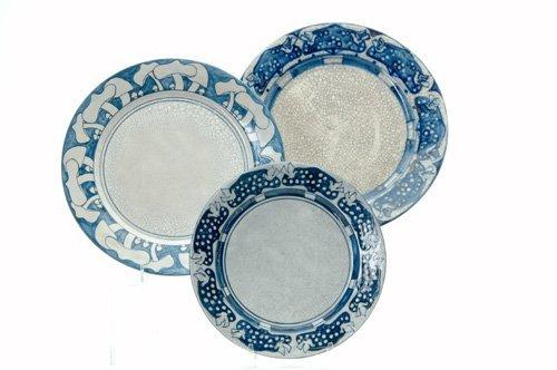 463: DEDHAM Three Crackleware plates, nos. 1 and 2, in