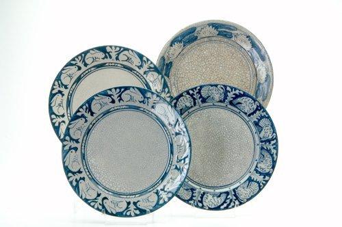 465: DEDHAM Four Crackleware dinner plates in the Clock