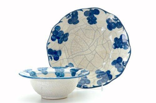 466: DEDHAM Two Crackleware bowls in the Grape design,