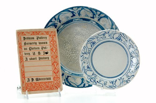 471: DEDHAM Crackleware shallow soup plate and saucer p