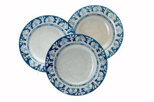 472: DEDHAM Three Crackleware deep soup plates in the C