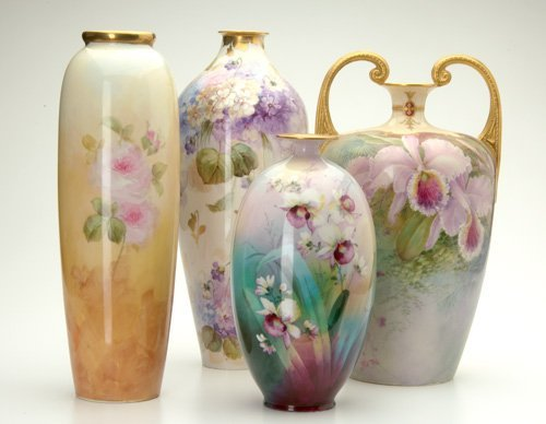 967: WILLETTS/LENOX Four tall vases, three painted by W
