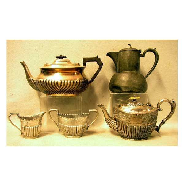 3: Silver - A britannia metal three piece Victorian tea