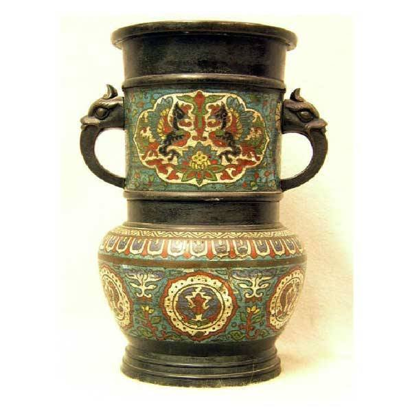 5: Ceramics - A nineteenth century cloisonné bronze vas