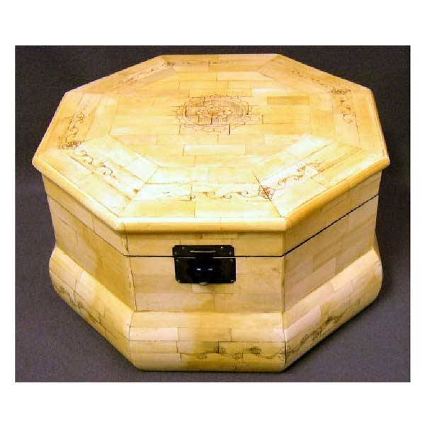 11: Boxes - A large bone box of octagonal form formed w