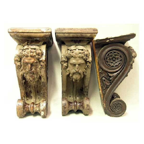 18: Furniture - Three Zeus moulded composition wall cor