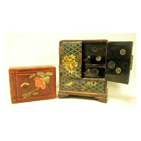 20: Boxes - A Japanese miniature lacquered cabinet, wit