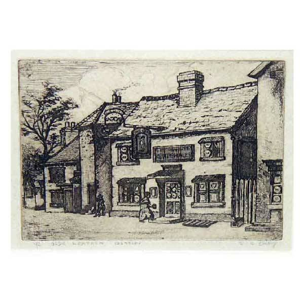 3129: Fine Art - J B Carey, sepia etching of village in