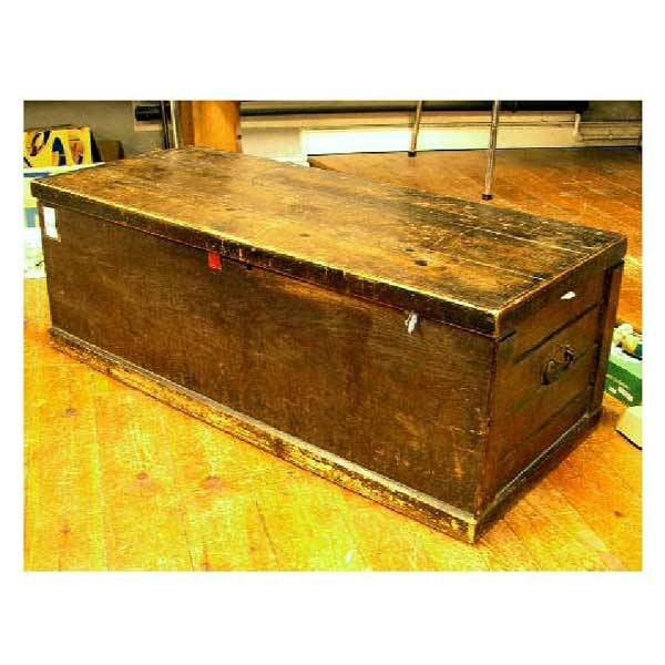 3143: Furniture - A stained pine blanket box, with cran