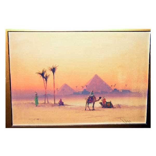 3144: Fine Art - R Cooper, watercolour, Egyptian landsc