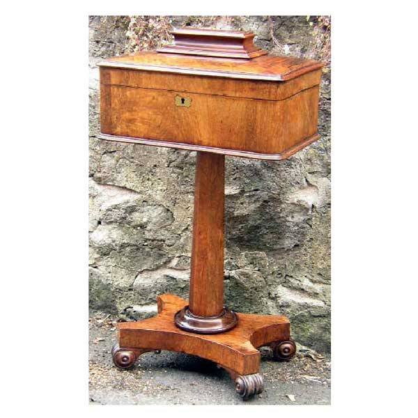 3145: Furniture - A William IV rosewood teapoy, with re