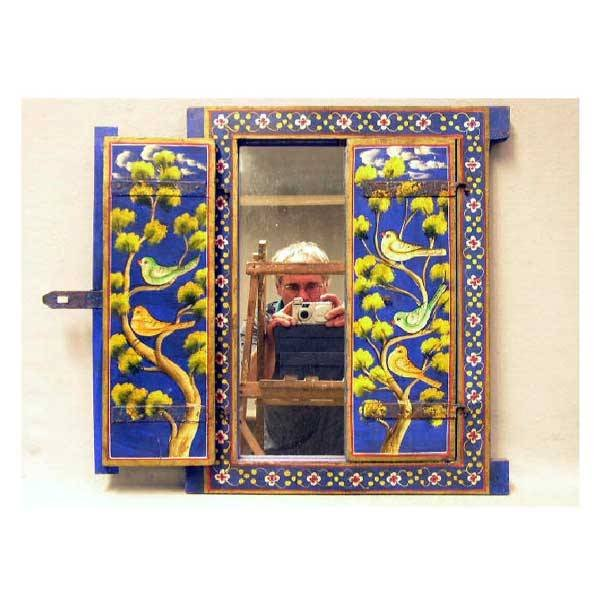 3146: Mirrors - An oriental style mirror with painted s