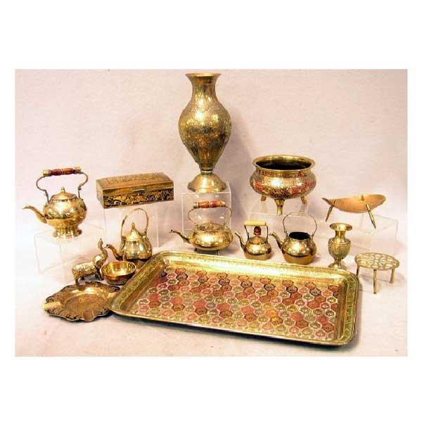 4: Brassware - A brass Benarés tray and other Benarés b