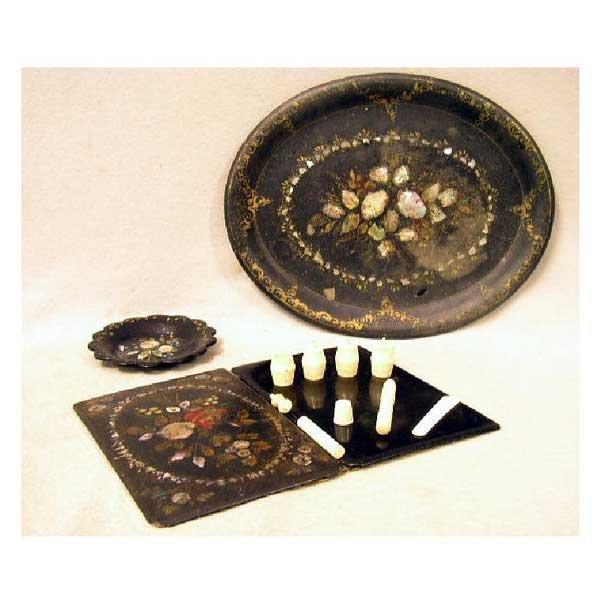 13: Collectable - An oval papier-mâché tray, inset with