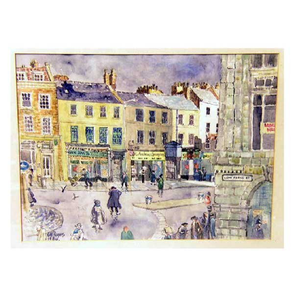 806: Art - L H Rogers, pen, ink and watercolour, street