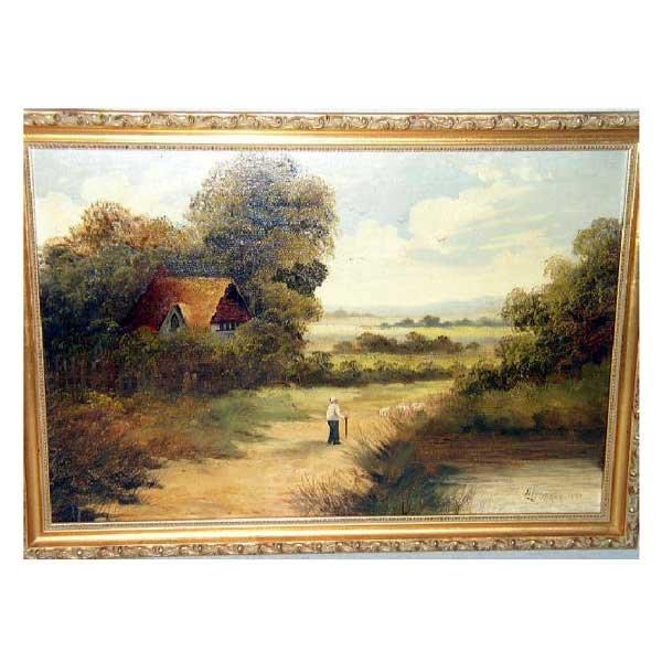 815: Art - H Ledgard, oil on canvas, late Victorian nai
