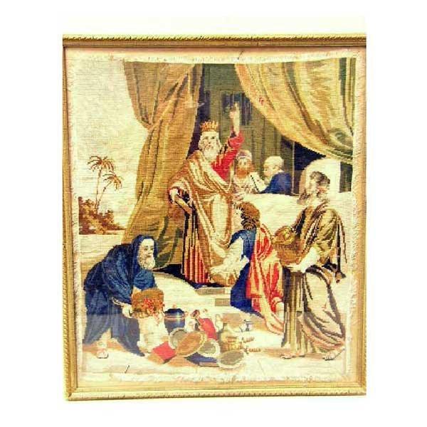 816: Textiles - A hand-sewn needlework panel depicting