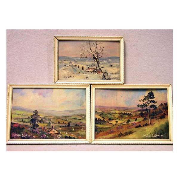 818: Art - James Lishman, oil on board, three landscape