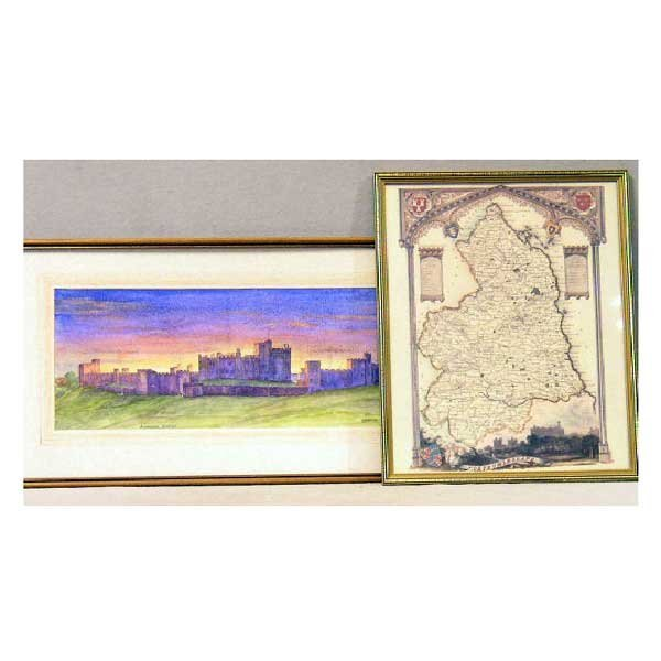 821: Art - Dodds, pencil and watercolour of Alnwick Cas