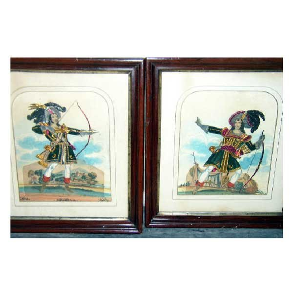 824: Art - A pair of nineteenth century naive collages,