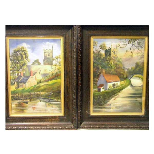 825: Art - W W Taylor, oil on board, a pair, country ca