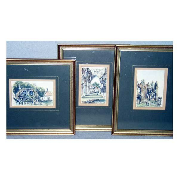827: Art - James Lishman, three framed watercolours, la