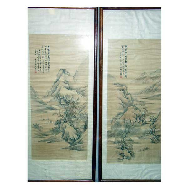 903: Art - A pair of large Chinese landscape paintings